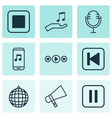 set of 9 music icons includes stop button mute vector image vector image