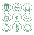 set of eco energy elements vector image vector image