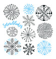 snowflakes hand drawn collection winter isolated vector image vector image