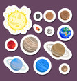 solar system planet stickers vector image