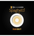 spaghetti pasta plate fork menu background vector image vector image