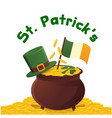 st patrick s hat gold coin flag background vector image