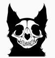 stylized monochrome monster cat skull vector image vector image