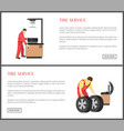 tire service and automobile workshop color card vector image vector image