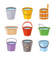 water buckets set metal pail empty and full vector image vector image