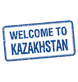 welcome to Kazakhstan blue grunge square stamp vector image vector image