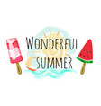 wonderful summer poster with two ice cream and sun vector image vector image