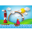 yacht on sea vector image vector image