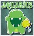 Zodiac sign Aquarius with cute colorful monster vector image