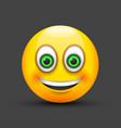 emoji smiling green eyes vector image