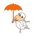 A funny cartoon sheep with an umbrella vector image