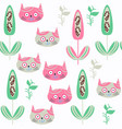 abstract animals cats seamless pattern it is vector image vector image