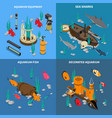 aquarium concept icons set vector image vector image