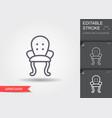 armchair line icon with editable stroke vector image