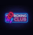 boxing club neon sign boxing night design vector image vector image