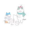 cartoon cute family cat fishing vector image vector image