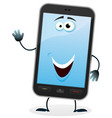 cartoon mobile phone character vector image vector image