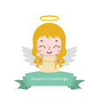 christmas banner with little angel vector image