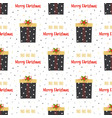 christmas seamless pattern with cartoon gifts vector image