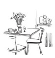 dining table for date with coffee hand drawn vector image vector image