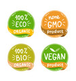 Eco organic bio logos stickers set