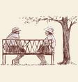 elderly women rest in the park vector image