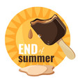 end of summer melting ice cream vector image vector image