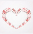 floral frame in the shape of heart design vector image vector image