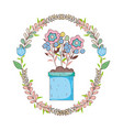 flowers in garden pot with wreath crown vector image