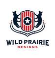 fox animal logo design and vintage shield vector image vector image