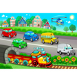 Funny vehicles in the town vector image vector image