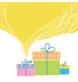 gift boxes with ribbon and big yellow bubble vector image vector image