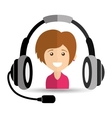 girl smiling headphones for support vector image