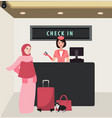 girl woman check in airline flight front desk vector image vector image