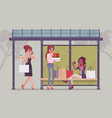 girls at bus stop after shopping vector image