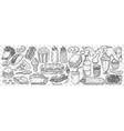 hand drawn junk food doodle set vector image