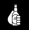hand holding beer bottle dark mode glyph icon