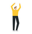 happy business with raised hands man on a white vector image