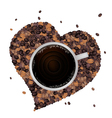 Hot Coffee with Heart Shape of Coffee Beans vector image