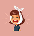 little girl having a toothache feeling in pain vector image vector image