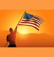 muscular man holding flag usa vector image