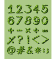 Numerical figures with green artwork vector image