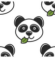 panda with leaf in mouth seamless pattern chinese vector image