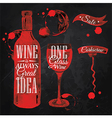 Pointer drawn pour wine chalk vector image vector image