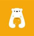 polar bear honey hive bee negative space logo icon