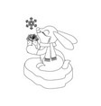 rabbit with present coloring page vector image