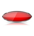 red oval button with chrome frame vector image vector image