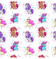 seamless pattern with cute cartoon pony vector image vector image
