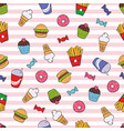 seamless texture with fast food vector image vector image