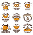 set bakery bread shop emblems design element vector image